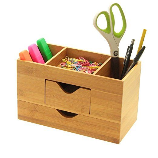 Bamboo Desk Organiser Tidy, Stationery Box with 2 Drawers