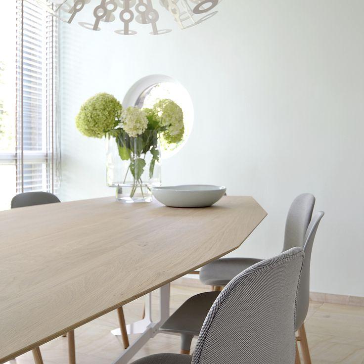 Een achthoekige tafel op maat. Het verfijnde onderstel van de Split tafels leent zicht voor ovaal, organisch, afgeronde bladvormen. Tafels op maat? www.houtmerk.nl