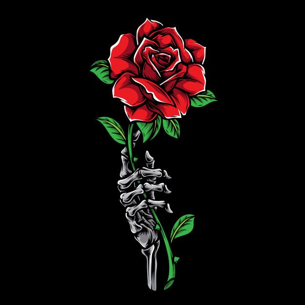 Hand Skeleton Holding Rose Tattoo Illustration In 2020 Hands Holding Flowers Tattoo Illustration Skeleton Hand Tattoo