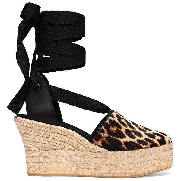 Tory Burch Elisa Leopard Espadrilles Wedges (214.085 CLP) ❤ liked on Polyvore featuring shoes, sandals, platform espadrille sandals, tory burch espadrilles, platform espadrilles, high heel platform sandals and high heel wedge sandals
