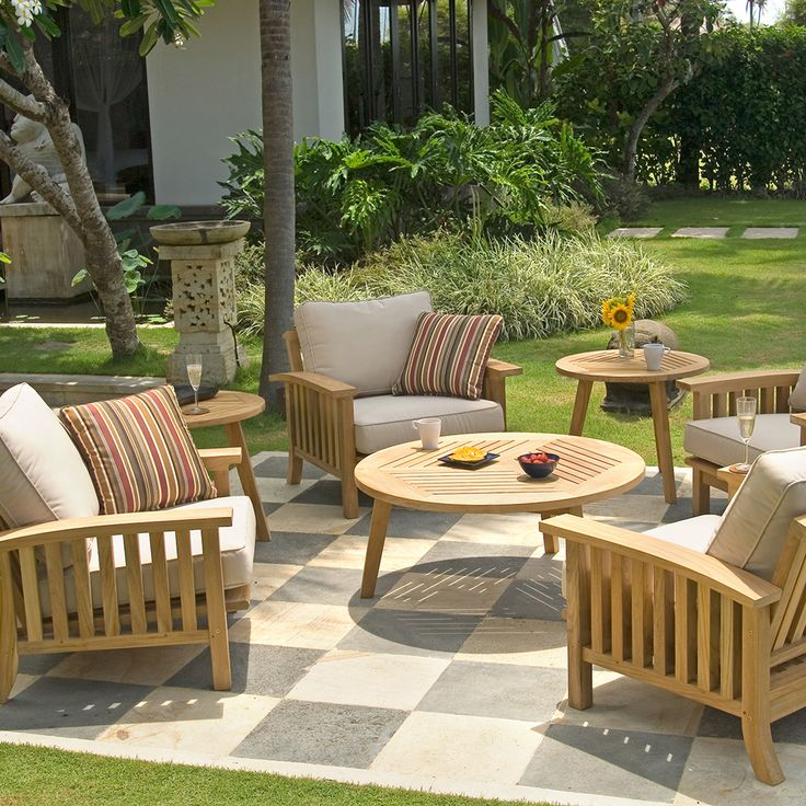 Teak Outdoor Lounge Seating Set (5 Piece Set) | Craftsman Collection