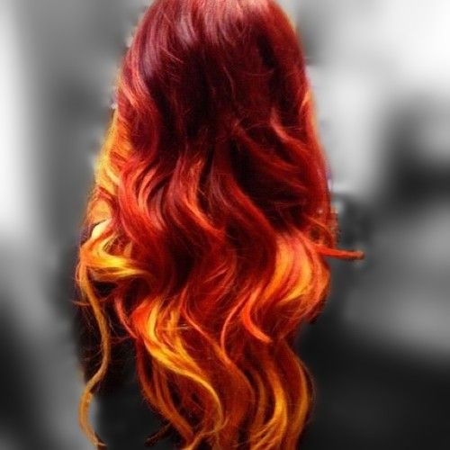 Amazing Ombre look - Violet - Red - Orange - Yellow  I would very much like to have this hair.