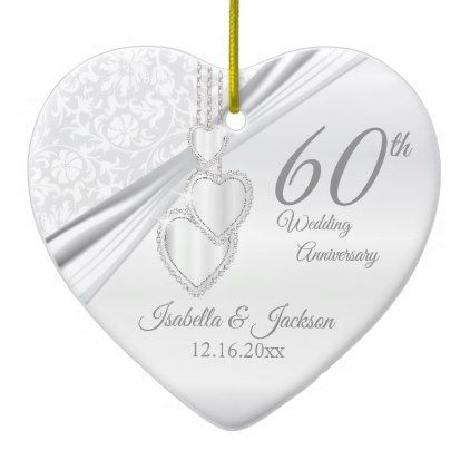 60th Diamond Wedding Anniversary Ceramic Ornament - married gifts wedding anniversary marriage party diy cyo