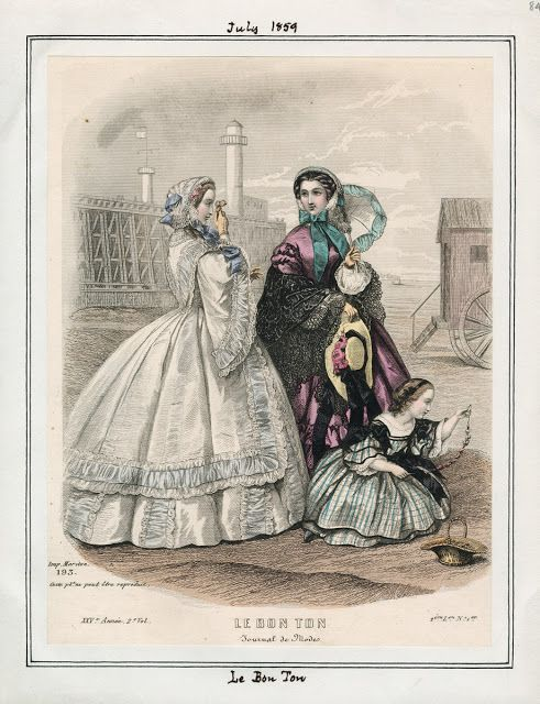 Civil War era fashion plate. Le Bon Ton, July 1859. | In the Swan's Shadow