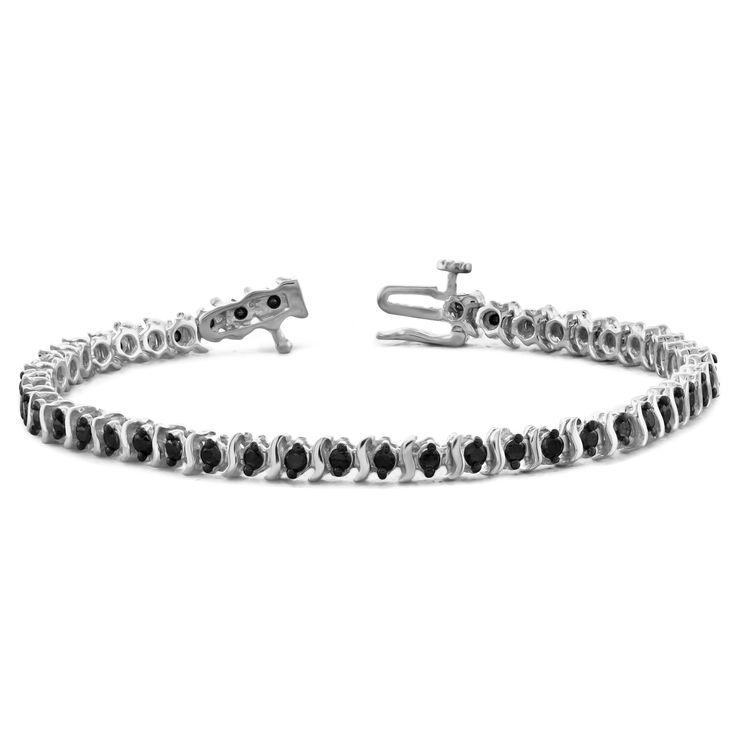 Jewelonfire Sterling Silver, Yellow Goldplated Sterling Silver 1.50ct TDW Genuine Black Diamond Bracelet, Women's
