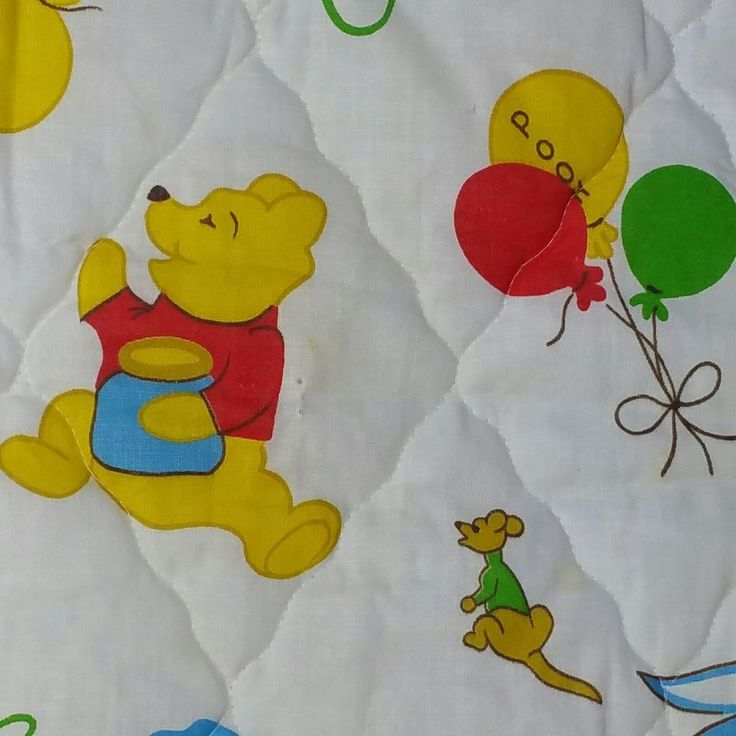 Vintage Winnie the Pooh Quilt Sears Baby Blanket Ruffle Trim #Sears