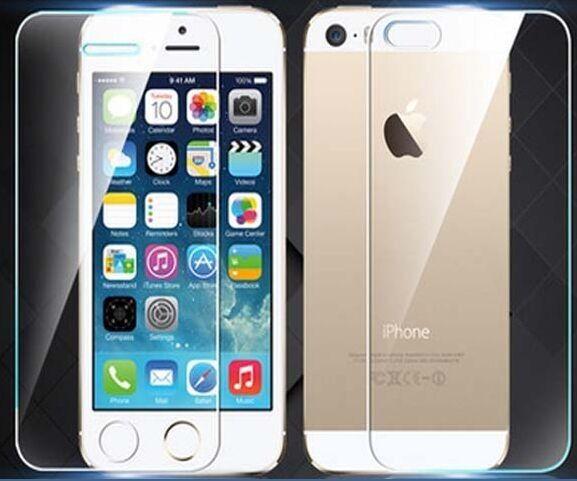 2 teile/lose eine vorder ein zurück 0,3mm gehärtetem glas für iphone 5 5 s 9 H Fest 2.5D Arc Rand Runde Border Zurück Bildschirm schutz