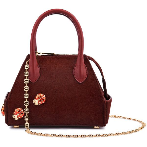 La Perla Bags Red Pony Skin Mini Ada Bag With Ladybird Embellishments (€2.080) ❤ liked on Polyvore featuring bags, handbags, intimates, chain strap purse, zipper purse, structured purse, red handbags and special occasion handbags