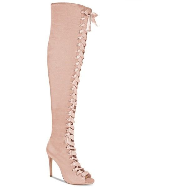 Aldo Cherisse Lace-Up Over-The-Knee Boots ($160) ❤ liked on Polyvore featuring shoes, boots, light pink, aldo, lacing boots, aldo over the knee boots, lace up thigh boots and above the knee boots