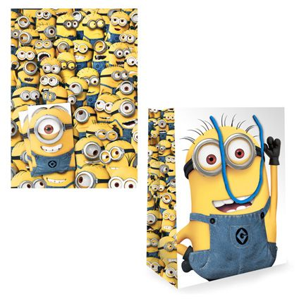 Despicable Me Minion Gift Bag and Gift Wrap & Tag set available from Publishers with Free UK Delivery for only £5 at https://www.danilo.com/Shop/Cards-and-Wrap/Birthday-Packs/Despicable-Me-Wrap-and-Bag-Pack
