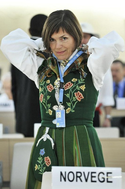 Representative of the Norway at the United Nations Office at Geneva in traditional dress during the 16th Session of the Council of Human Rights.