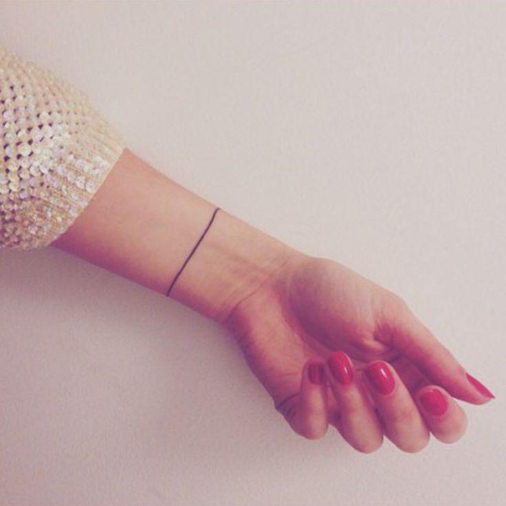 "cutelittletattoos: ""Little wrist band tattoo of a line on Hannah Obyrne. """