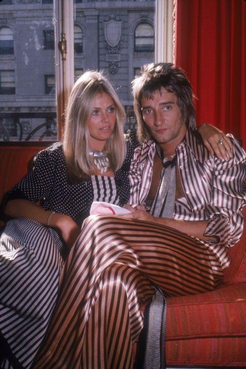 Rod Stewart and Britt Ekland, 1975.