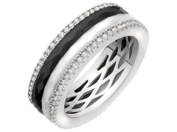 Pierścionek srebrny z ceramiką i cyrkoniami