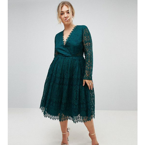 ASOS CURVE Long Sleeve Lace Midi Prom Dress ($130) ❤ liked on Polyvore featuring dresses, green, plus size, green prom dresses, lace maxi dress, long-sleeve lace dresses, plus size cocktail dresses and long sleeve prom dresses