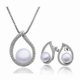 Платиновое покрытие имитация жемчуг свадьба ювелирные изделия комплект ожерелье серьги NPLS011