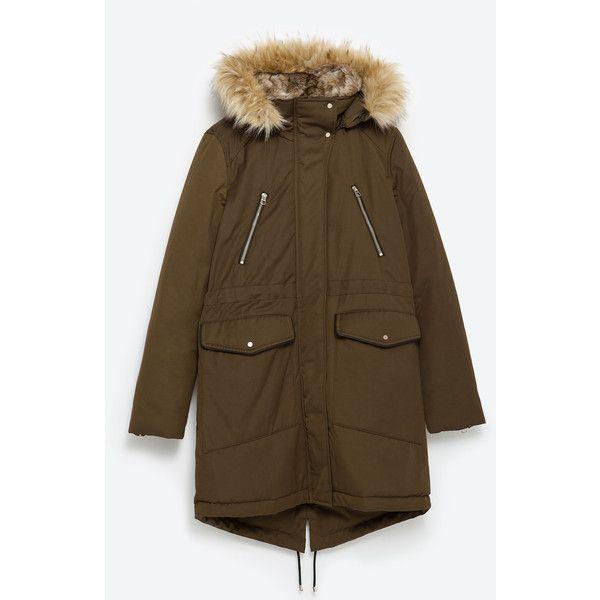 Zara Parka (250 CAD) ❤ liked on Polyvore featuring outerwear, coats, hunter green, zara coat, brown parka, parka coat, lined parka coat and lined parka