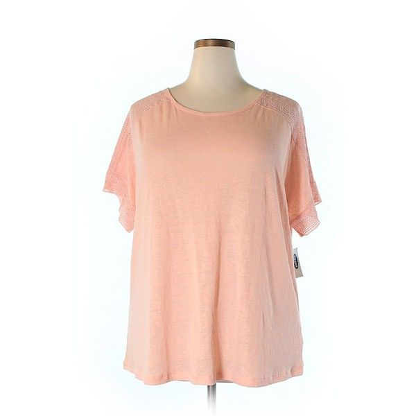 Old Navy Short Sleeve Top ($11) ❤ liked on Polyvore featuring plus size women's fashion, plus size clothing, plus size tops, coral, red top, short sleeve tops, old navy tops, red short sleeve top and old navy