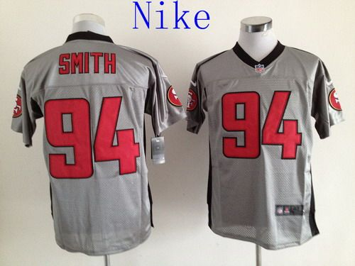 Nike San Francisco 49ers #94 Justin Smith Elite NFL Grey Shadow Jerseys