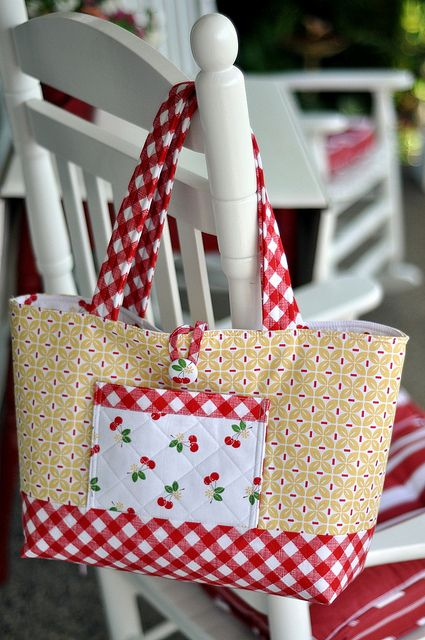lovely tote in yellow and red with cherries - from Pleasant Home