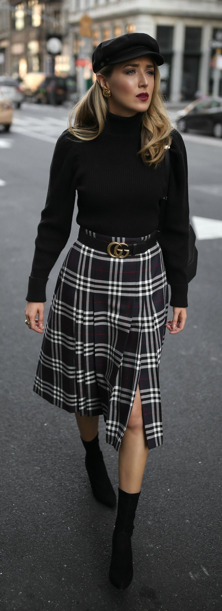 Classic Fall Style //  Pleated plaid midi skirt, black puffed-shoulder turtleneck, black sock boots, baker boy cap and black leather waist belt {Burberry, Anthropologie, Stuart Weitzman, Gucci, M2Malletier, Brixton, classic style, fall style, classy dress