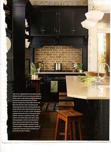 Black cabinets and brick backsplash kitchen pinterest for Kitchen units made of bricks