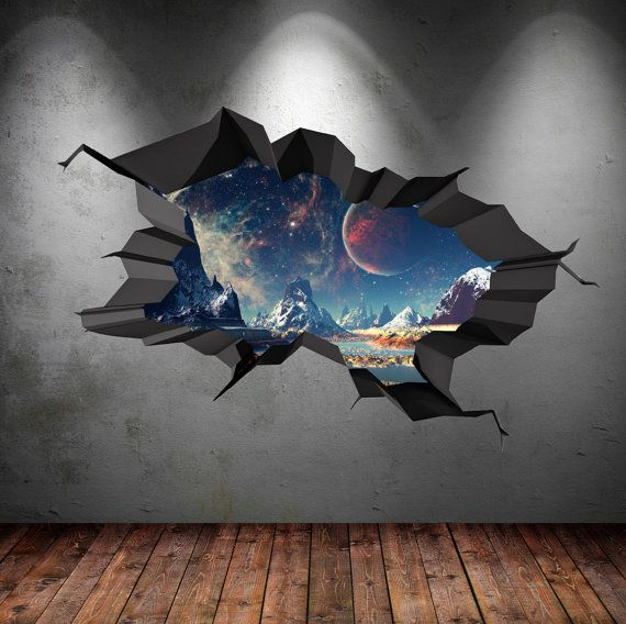 Full Colour Wall Decal Earth Space Planet Galaxy by GlitterBlast