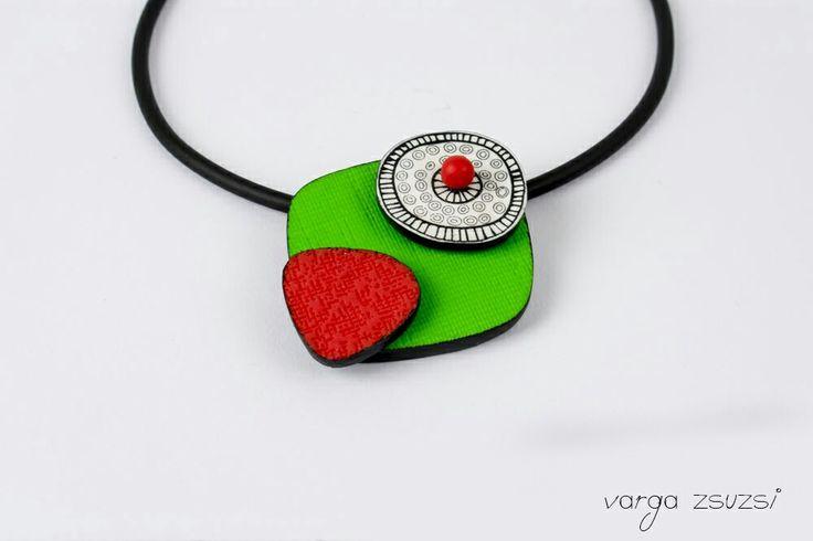 Polymer clay necklace  Cernit süthető gyurma nyaklánc MOIKO silkscreen #cernit#moiko#silkscreen#red#green#white