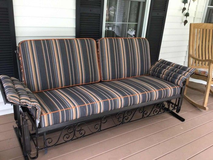 Customer S Restored Vintage Glider With Custom Cushions In