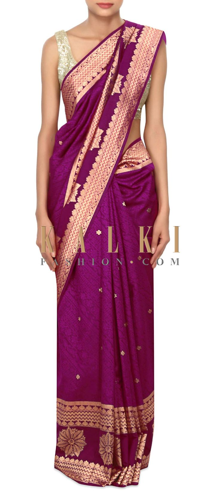 Buy Online from the link below. We ship worldwide (Free Shipping over US$100) Price- $99 Click Anywhere to Tag http://www.kalkifashion.com/purple-saree-enhanced-in-brocade-only-on-kalki.html