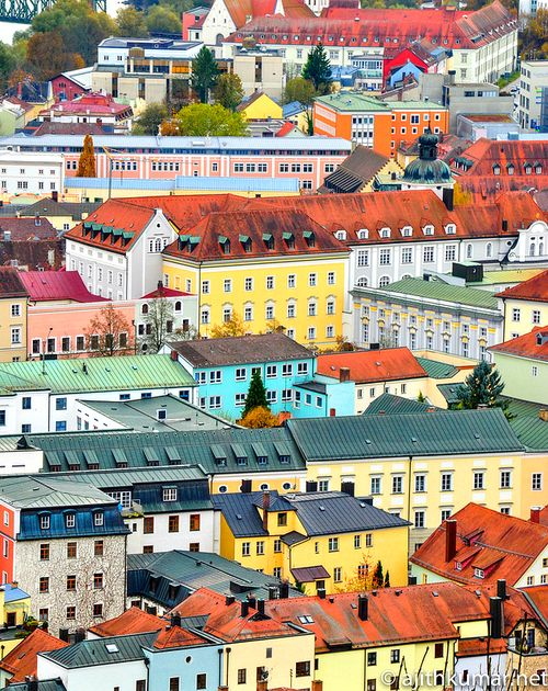 Candy-colored houses in Passau, Germany