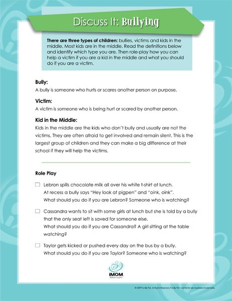 """FREE """"Bullying: Discuss It"""" Printable~  This printout from iMOM helps students understand that bullying includes the bully, victim, and kid-in-the-middle.  It includes definitions, and then offers three scenarios for discussion or role play.  Great, quick lesson to help with any anti-bullying program!"""