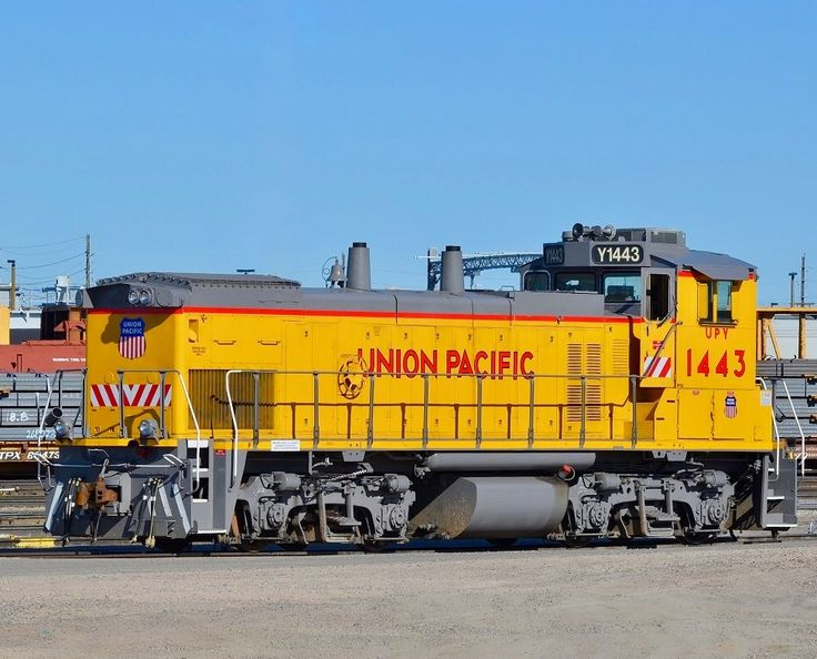 Union Pacific Railroad, EMD MP15AC diesel-electric switcher locomotive in Denver, Colorado, USA
