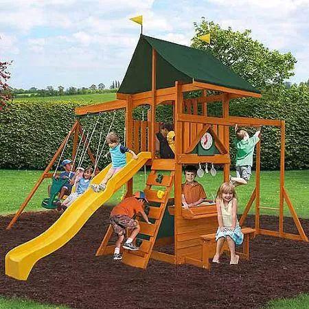cedar summit laurentian cedar wooden swing set 2