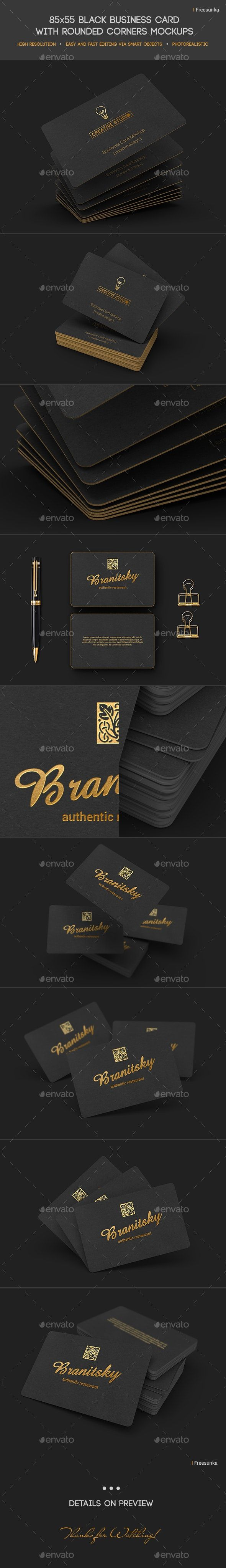 85x55 Black Business Card Mockups Business Card Mock Up Black Business Card Mockup Black Business Card