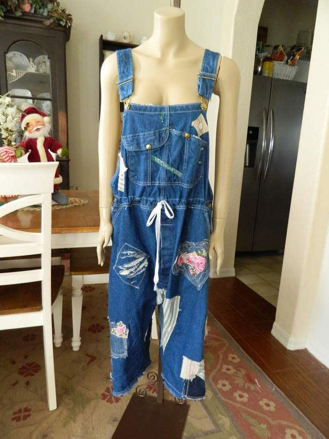 HEIRLOOMS OOAK magnolia patch recon pearl button vtg Key overalls #HeirloomsOOAKupcycledBigMacoveralls #Overalls