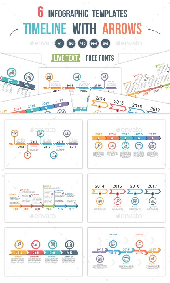 Timelines with Arrows - #Infographics Download here: https://graphicriver.net/item/timelines-with-arrows/19697367?ref=alena994