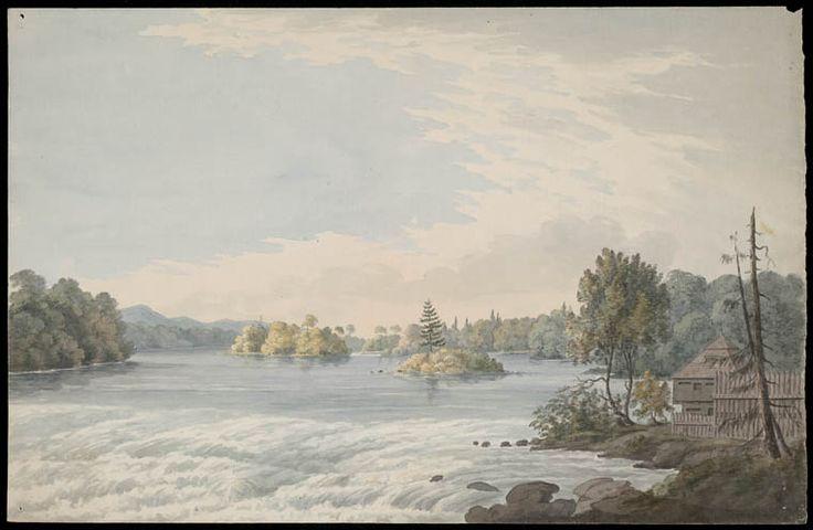 Une palissade en bois dans les Canadas, peut-être le fort à Coteau-du-lac sur le fleuve Saint-Laurent, ca 1791. Bibliothèque et Archives Canada, no d'acc R10929-6 Acquis avec l'aide de la Commission canadienne d'examen des exportations de biens culturels et de la Corporation d'Exportation et développement Canada.