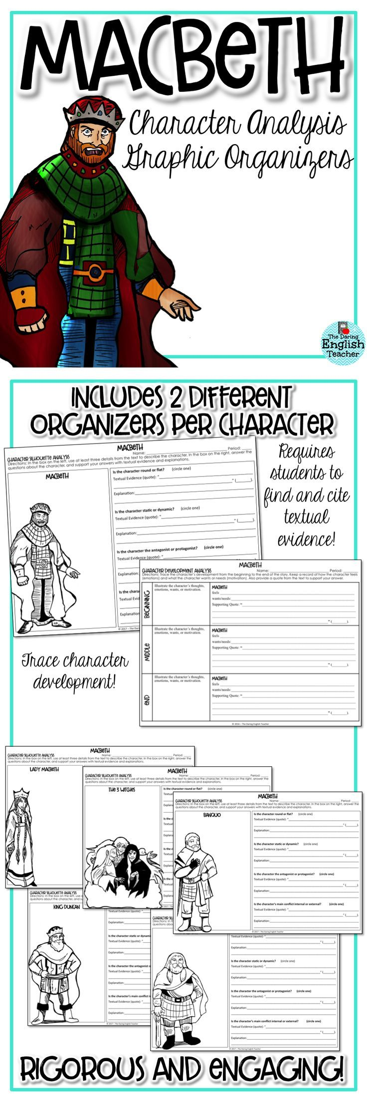 Character analysis organizers for William Shakespeare's Macbeth. These organizers are rigorous and require students to cite textual evidence.