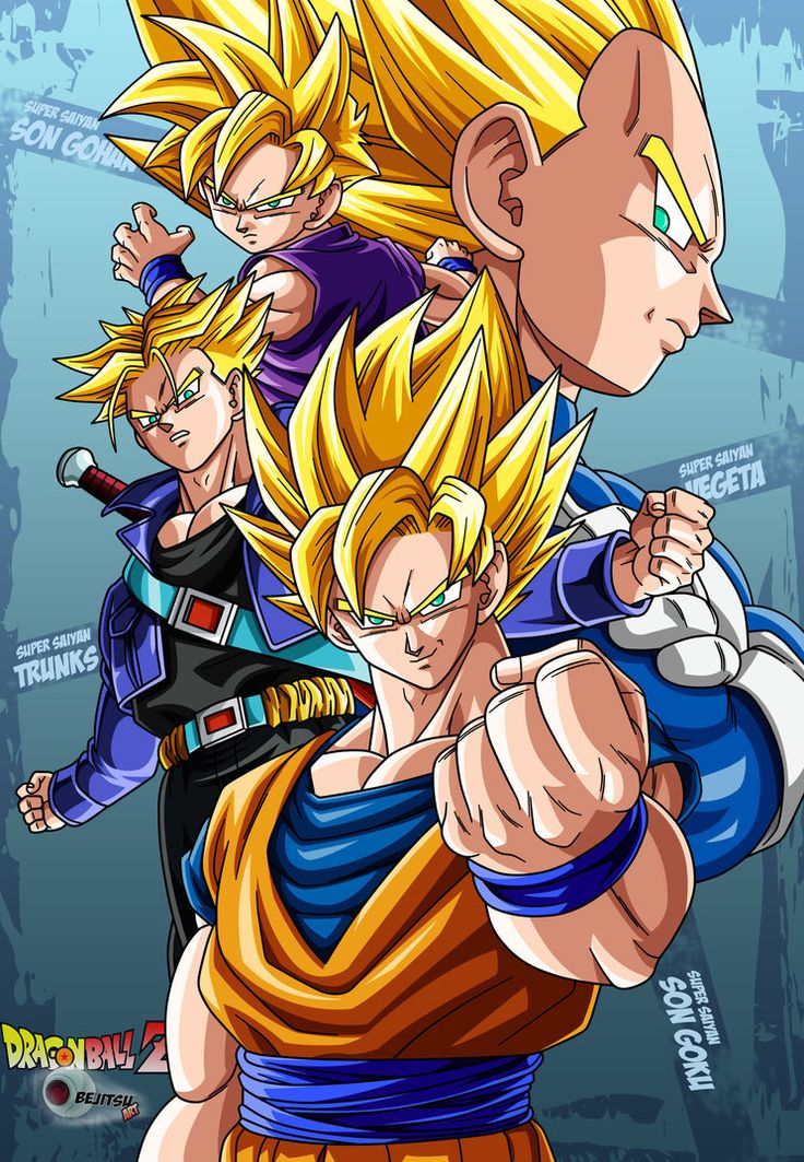 dragon ball z- super saiyans goku, gohan, vegeta and trunks lineart and colour by me watch me please.