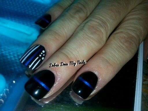 Thin Blue Line Nails In 2019 Lines On Nails Line Nail Designs Nails