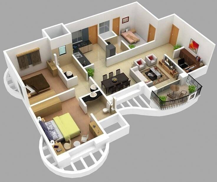 30 Modern 3d Floor Plans Help You To Make Your Dream Home Engineering Discoveries Apartment Floor Plans 3d House Plans Farmhouse Floor Plans