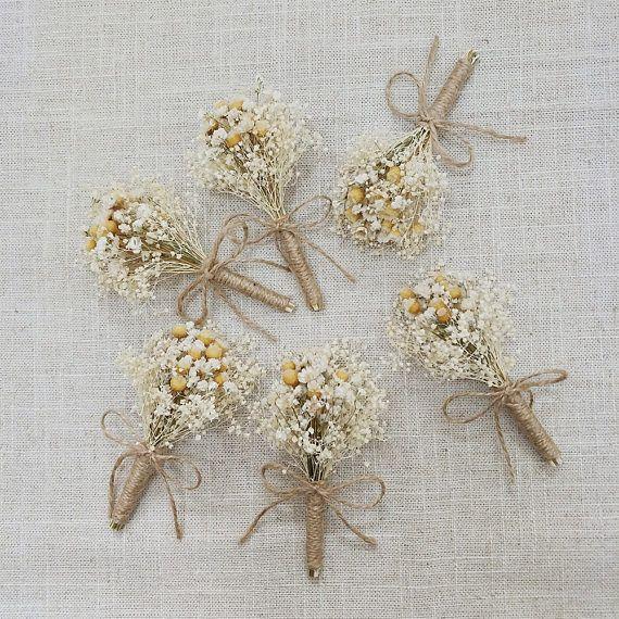 Ramo de boda rústica aliento de bebé de flor en el ojal