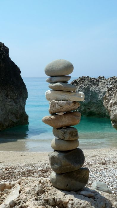 It took me a long time to stack these rocks and they were heavy too.