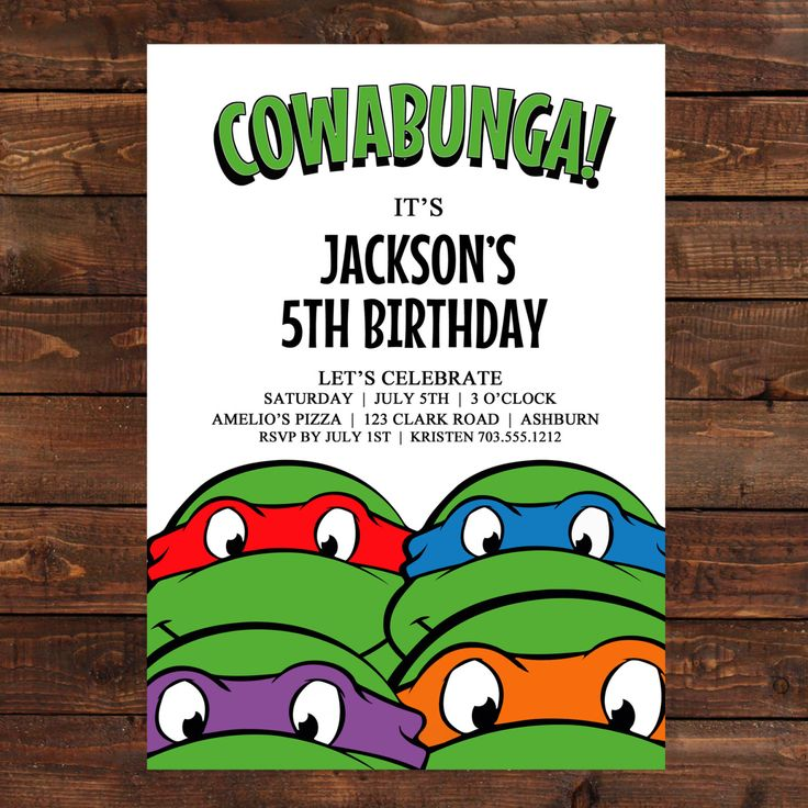 Teenage Mutant Ninja Turtles Birthday Party Invitations | DolanPedia Invitations Ideas