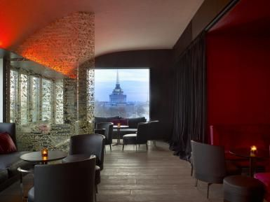 Coolest Hotel in St. Petersburg, Russia? The W, Comrade: Bar with a view at W St. Petersburg Hotel in Russia.