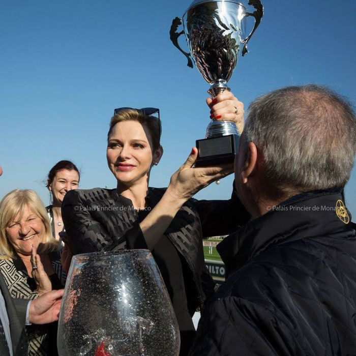 "Princess Charlene launched the ""Prix Princess Charlene of Monaco Charity Mile"" at the racecourse in Cagnes-sur-Mer, with each horse in the race representing one of 18 local charities."