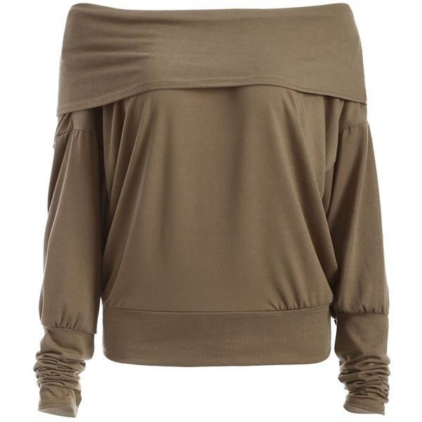 Loose Fitting Off-The-Shoulder Batwing Sleeve T-Shirt ❤ liked on Polyvore featuring tops, t-shirts, loose off the shoulder tops, brown tops, loose tops, brown t shirt and loose fitting tops