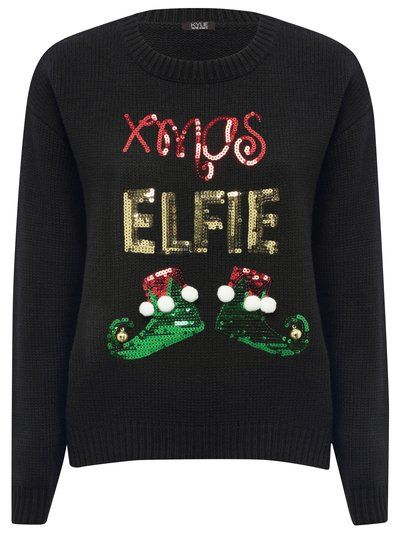 Xmas elfie sequin jumper. Prepare to dazzle this season in our super glam novelty Christmas jumper. Serving up all kinds of festive feels, this sequin embellished pull on slogan jumper boasts the text, Xmas Elfie, with sparkly elf shoes resting beneath.