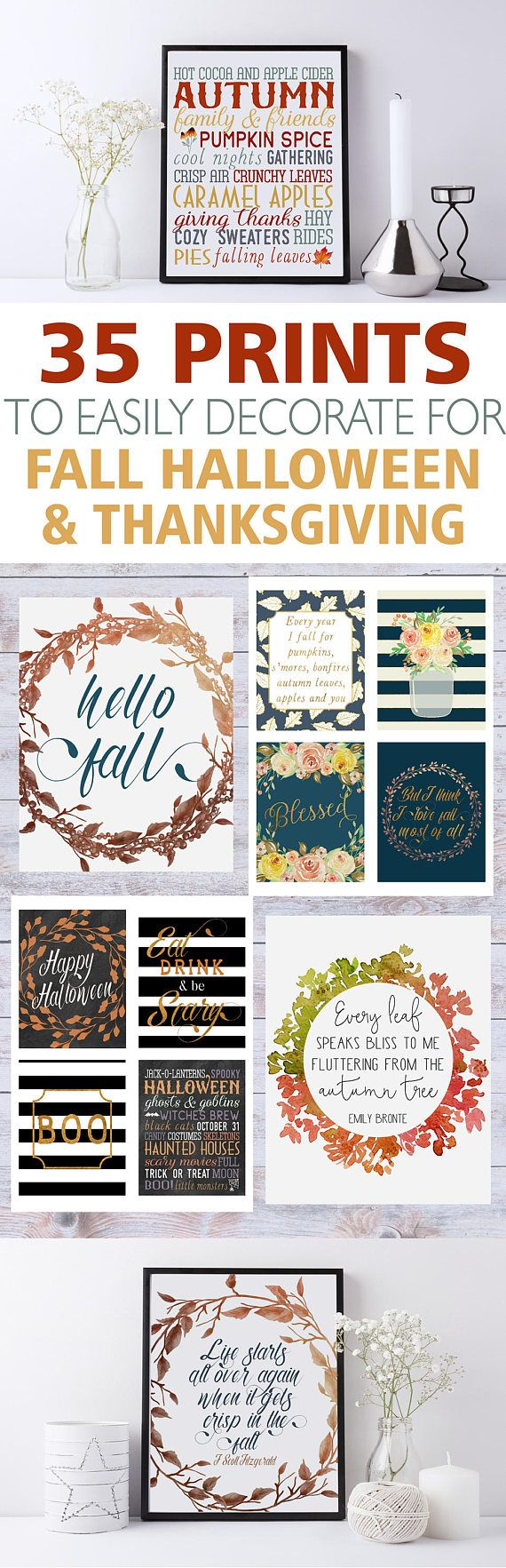 A Gorgeous Fall Printable Wall Art Bundle To Decorate For Thanksgiving Halloween & Autumn
